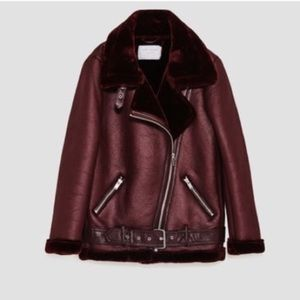 Zara Double Faced Faux fur Biker Jacket